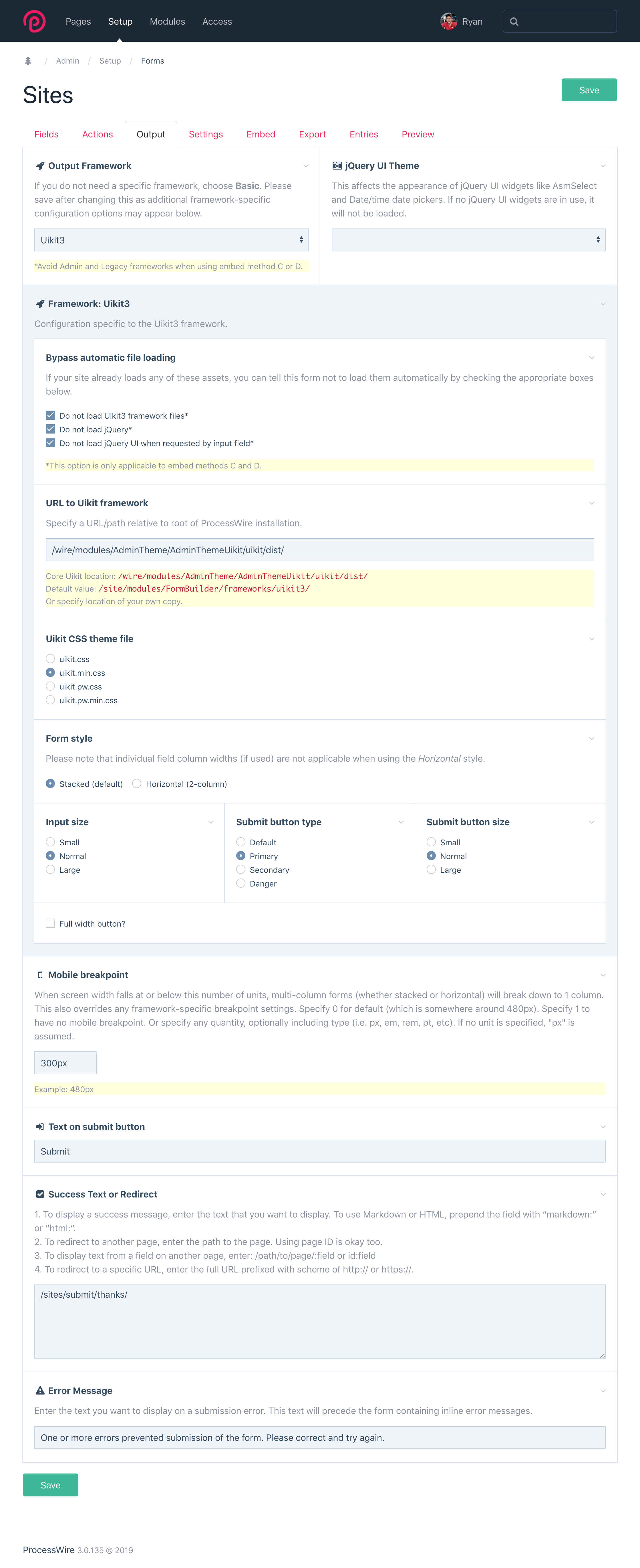 FormBuilder: ProcessWire form builder tool for creating forms
