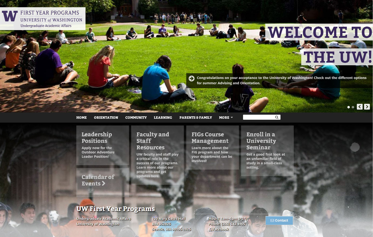 First Year Programs at the University of Washington